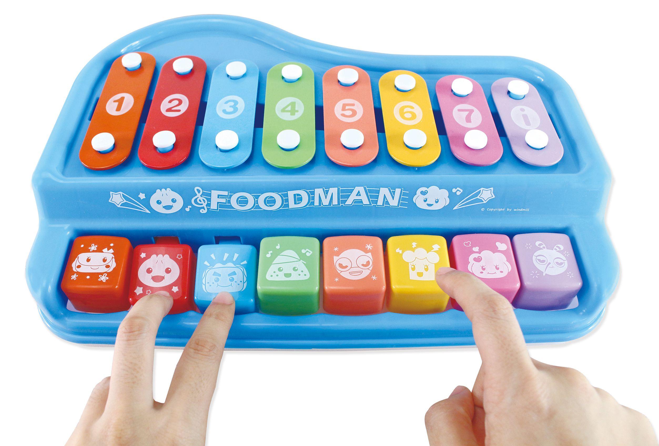 多功能趣味鋼琴(藍)-FOOD超人(附樂譜本和敲打棒)