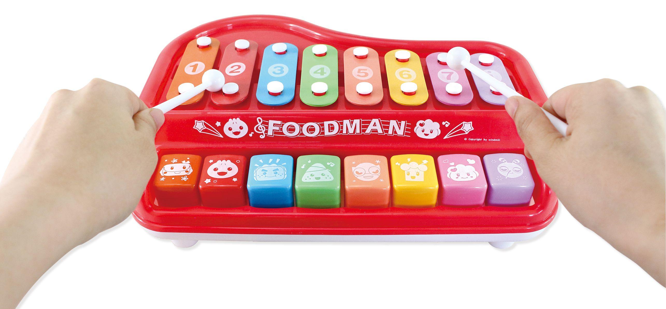 多功能趣味鋼琴(紅)-FOOD超人(附樂譜本和敲打棒)