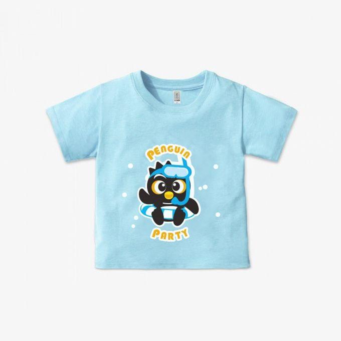 企鵝派對純棉短袖上衣-藍