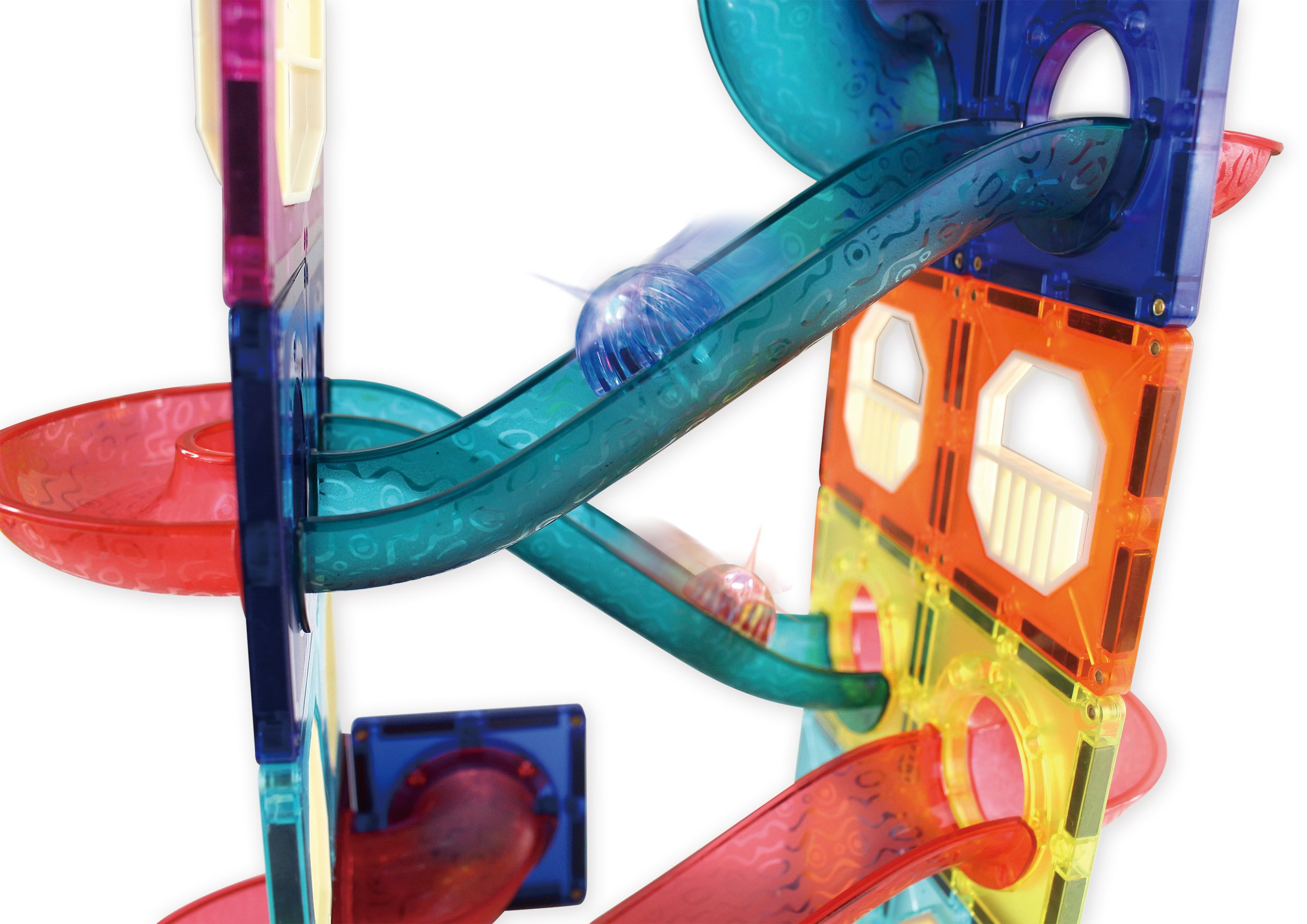 極速滾球百變滑道-FOOD超人創意磁力片