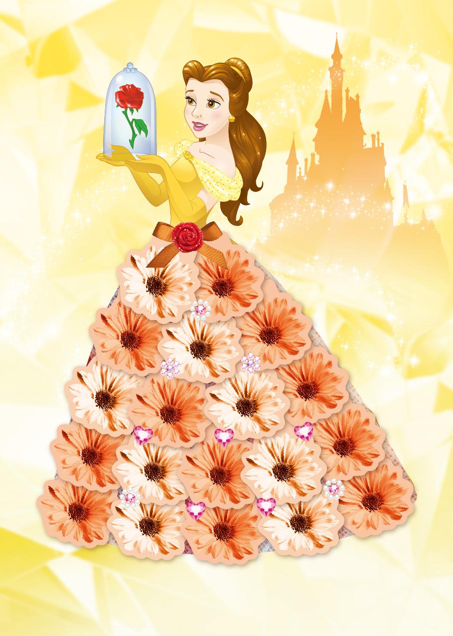 【迪士尼 DISNEY】我是設計師15立體花朵禮服I (貝兒+仙杜瑞拉)